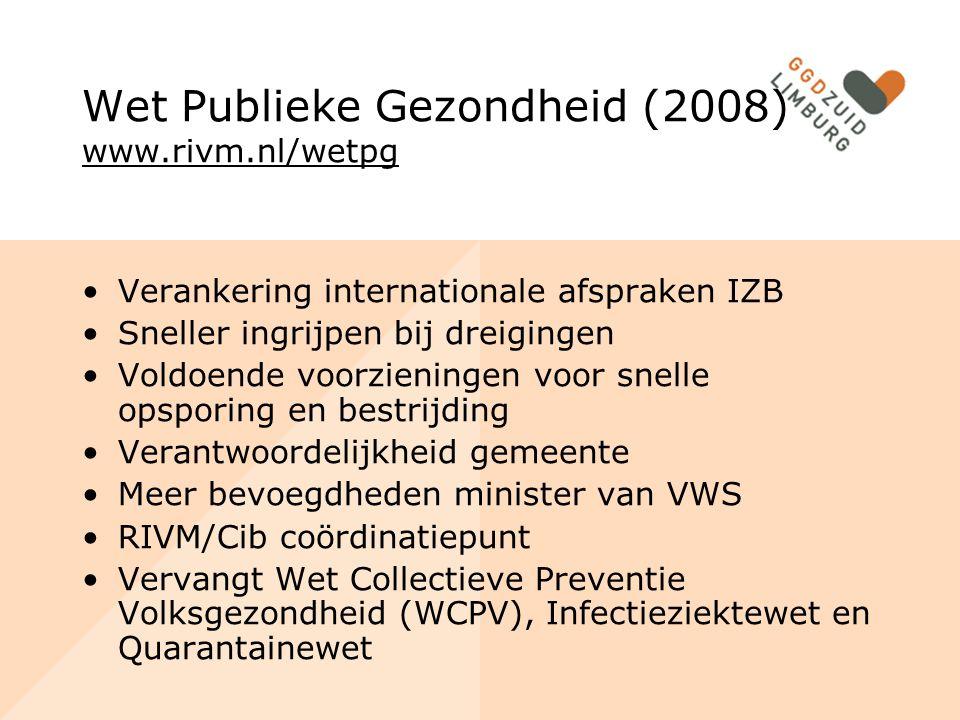 Wet Publieke Gezondheid (2008) www.rivm.nl/wetpg