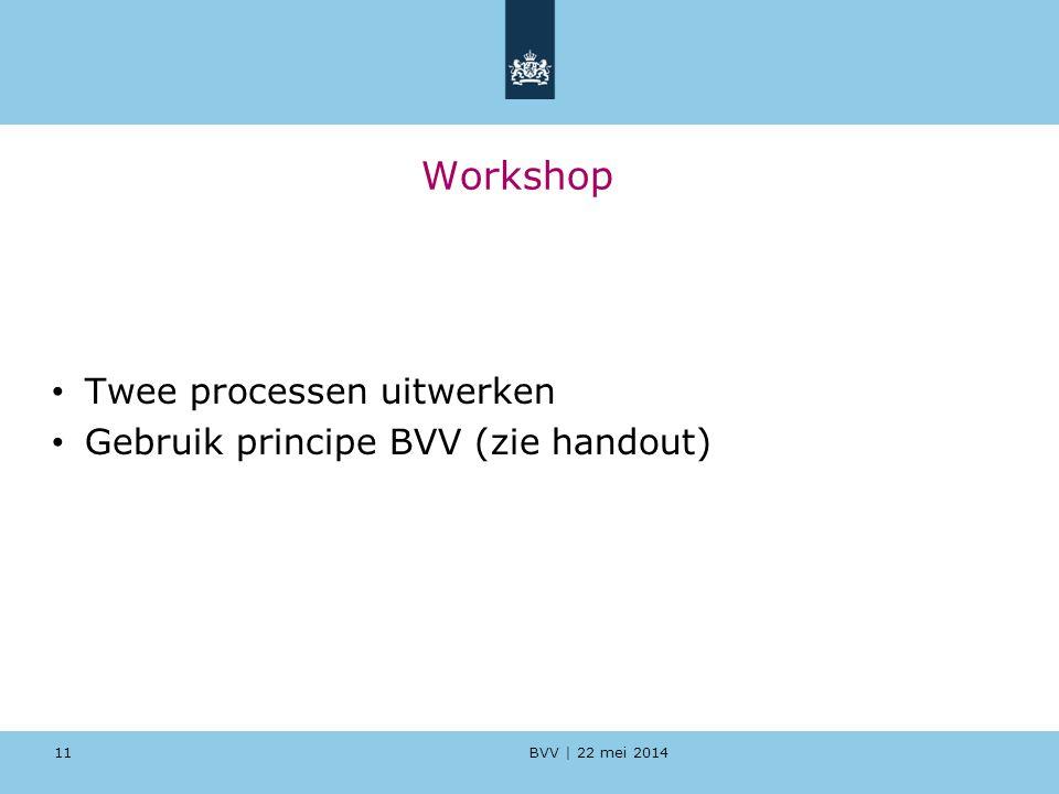 Workshop Twee processen uitwerken Gebruik principe BVV (zie handout)