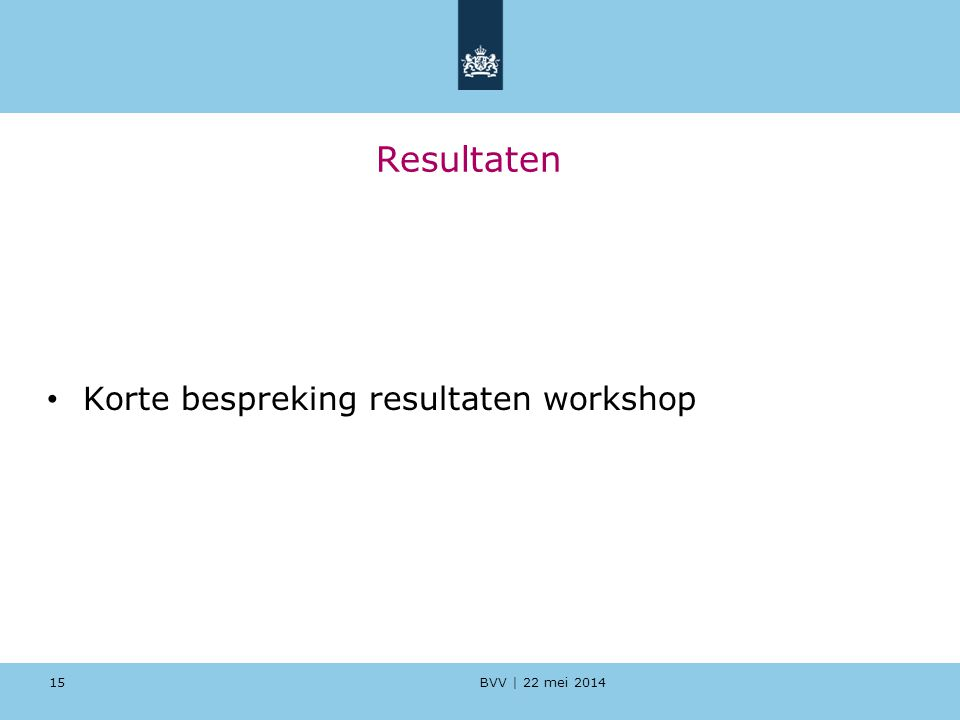 Resultaten Korte bespreking resultaten workshop