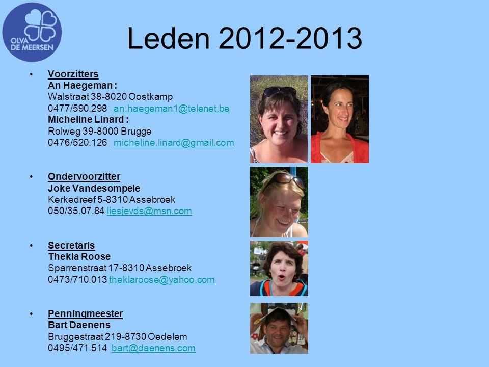 Leden 2012-2013 Voorzitters An Haegeman : Walstraat 38-8020 Oostkamp