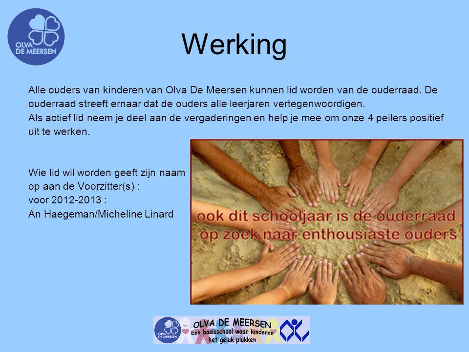 Werking Alle ouders van kinderen van Olva De Meersen kunnen lid worden van de ouderraad. De.