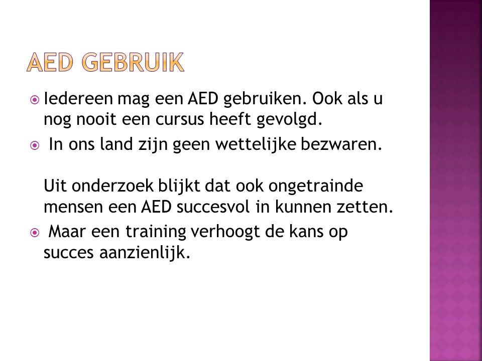 AED Gebruik Iedereen mag een AED gebruiken. Ook als u nog nooit een cursus heeft gevolgd.