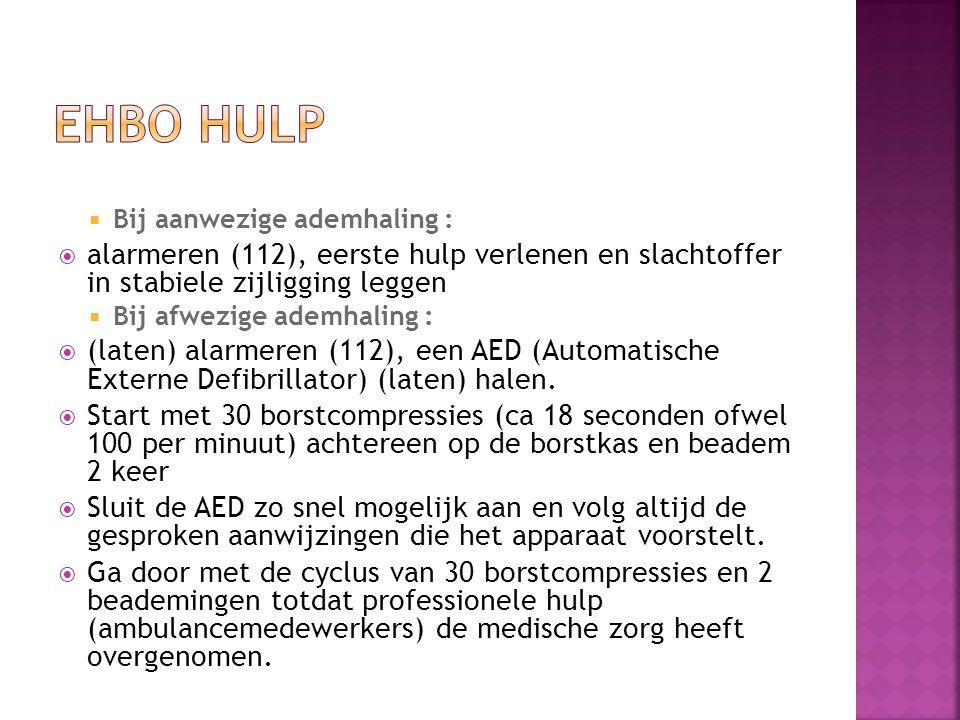 EHBO HULP Bij aanwezige ademhaling : alarmeren (112), eerste hulp verlenen en slachtoffer in stabiele zijligging leggen.