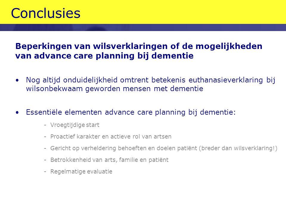 Conclusies Beperkingen van wilsverklaringen of de mogelijkheden van advance care planning bij dementie.