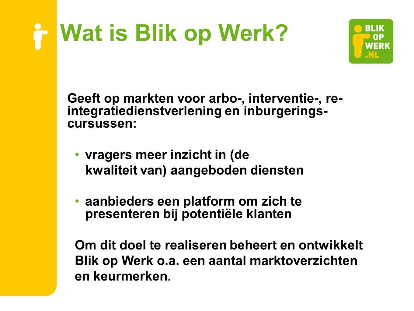 Wat is Blik op Werk Geeft op markten voor arbo-, interventie-, re-integratiedienstverlening en inburgerings-cursussen:
