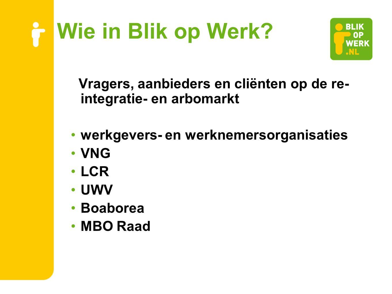 Wie in Blik op Werk Vragers, aanbieders en cliënten op de re-integratie- en arbomarkt. werkgevers- en werknemersorganisaties.