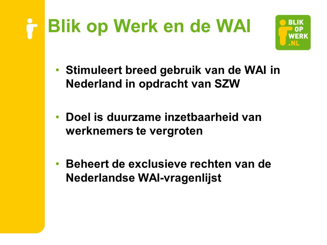 Blik op Werk en de WAI Stimuleert breed gebruik van de WAI in Nederland in opdracht van SZW.