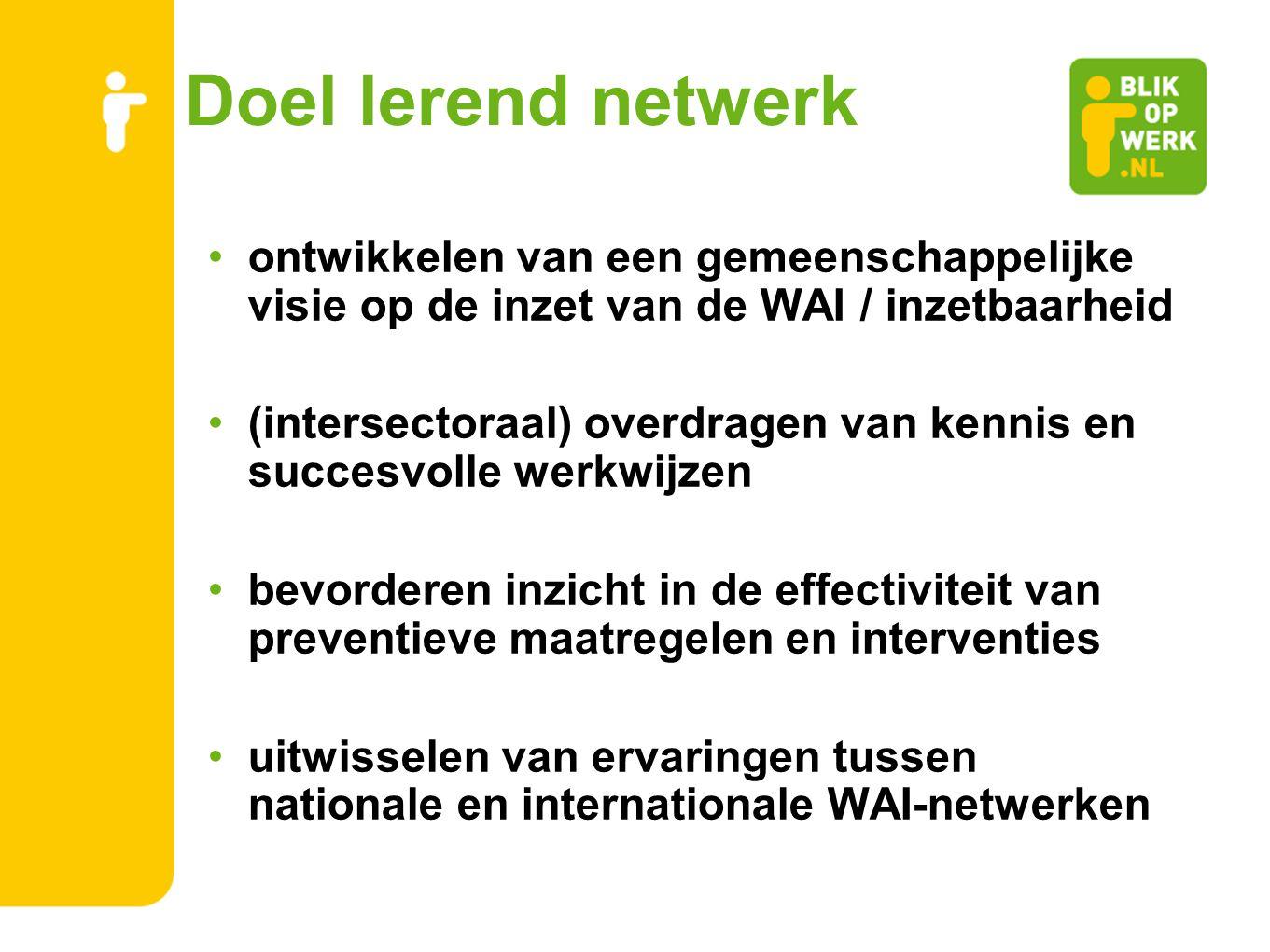 Doel lerend netwerk ontwikkelen van een gemeenschappelijke visie op de inzet van de WAI / inzetbaarheid.