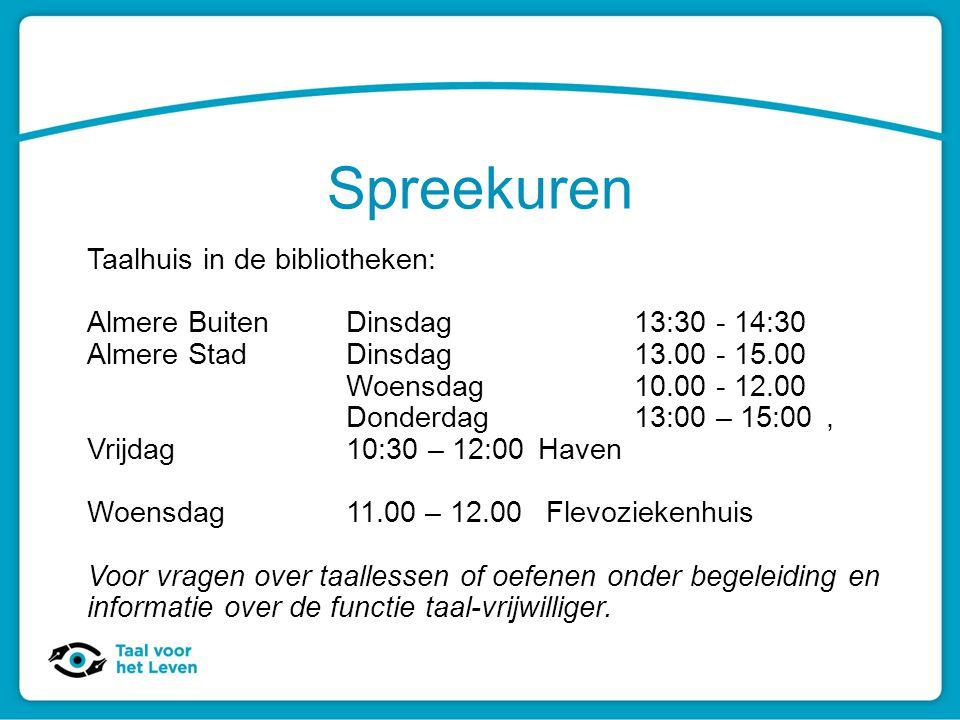 Spreekuren Taalhuis in de bibliotheken: