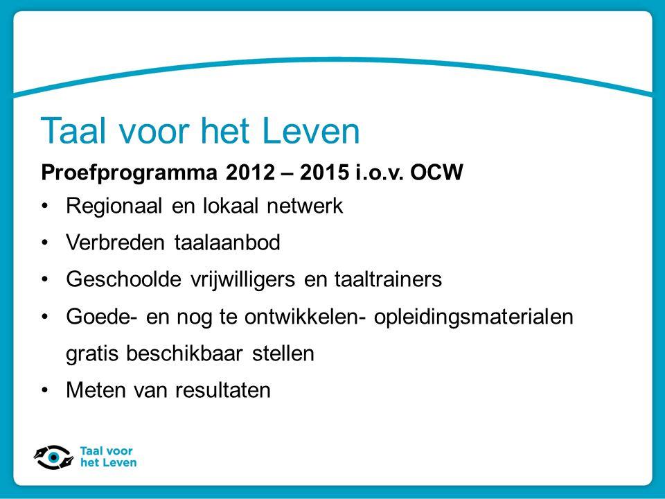 Taal voor het Leven Proefprogramma 2012 – 2015 i.o.v. OCW