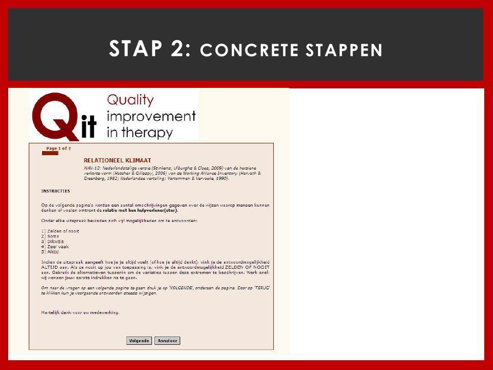 STAP 2: Concrete stappen