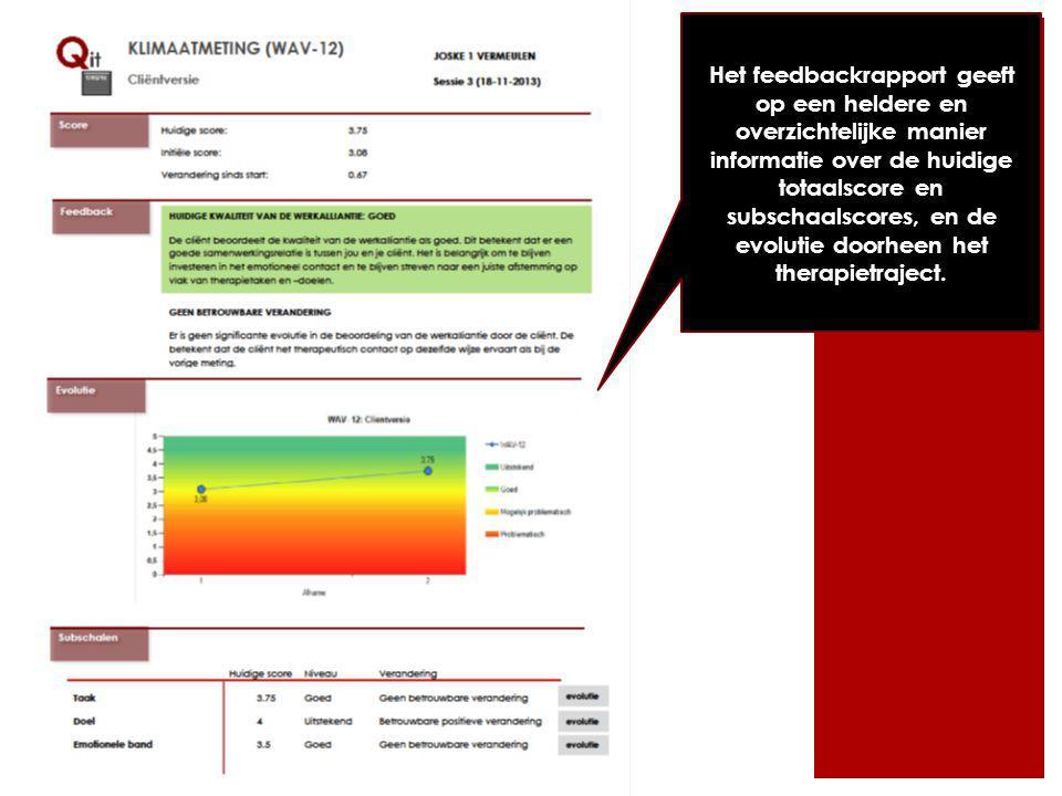 Het feedbackrapport geeft op een heldere en overzichtelijke manier informatie over de huidige totaalscore en subschaalscores, en de evolutie doorheen het therapietraject.