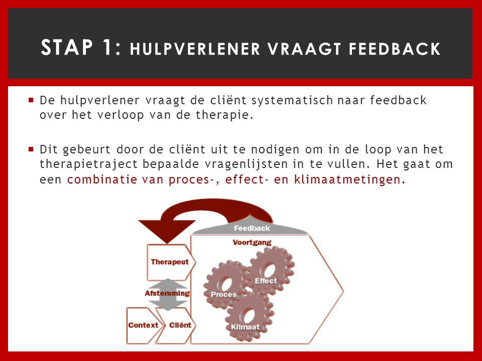 STAP 1: Hulpverlener vraagt feedback