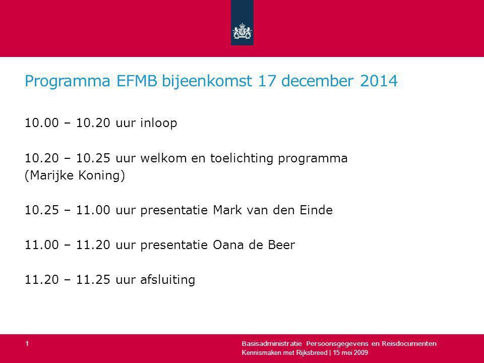 Programma EFMB bijeenkomst 17 december 2014