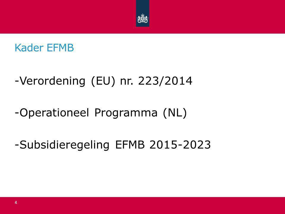 Operationeel Programma (NL) Subsidieregeling EFMB 2015-2023