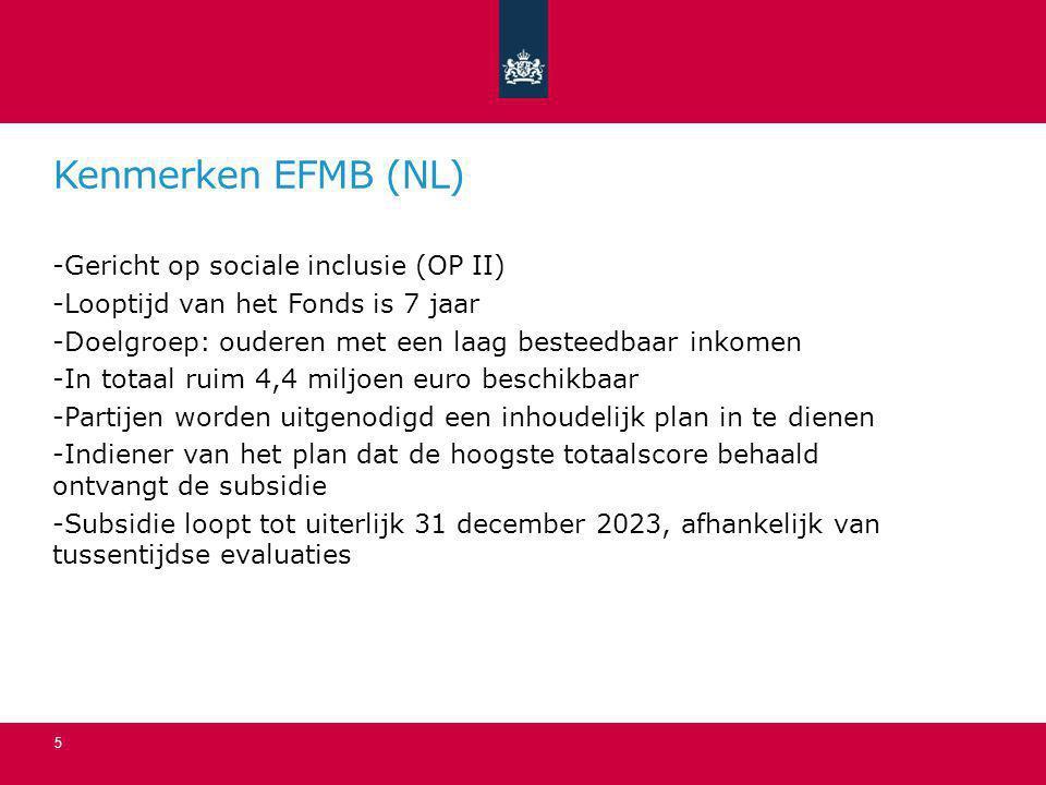 Kenmerken EFMB (NL) Gericht op sociale inclusie (OP II)