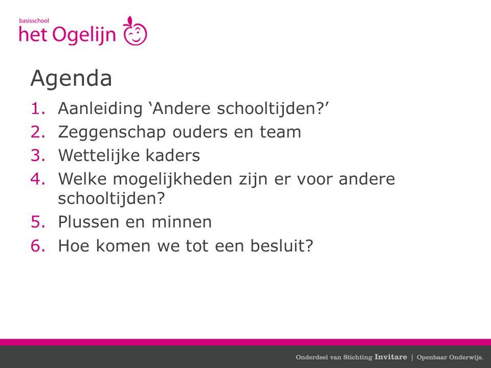 Agenda Aanleiding 'Andere schooltijden ' Zeggenschap ouders en team