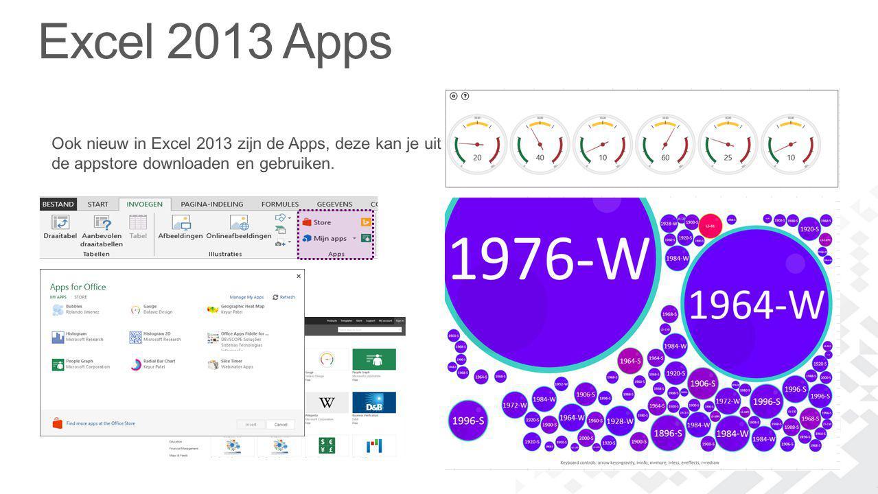 Excel 2013 Apps Ook nieuw in Excel 2013 zijn de Apps, deze kan je uit