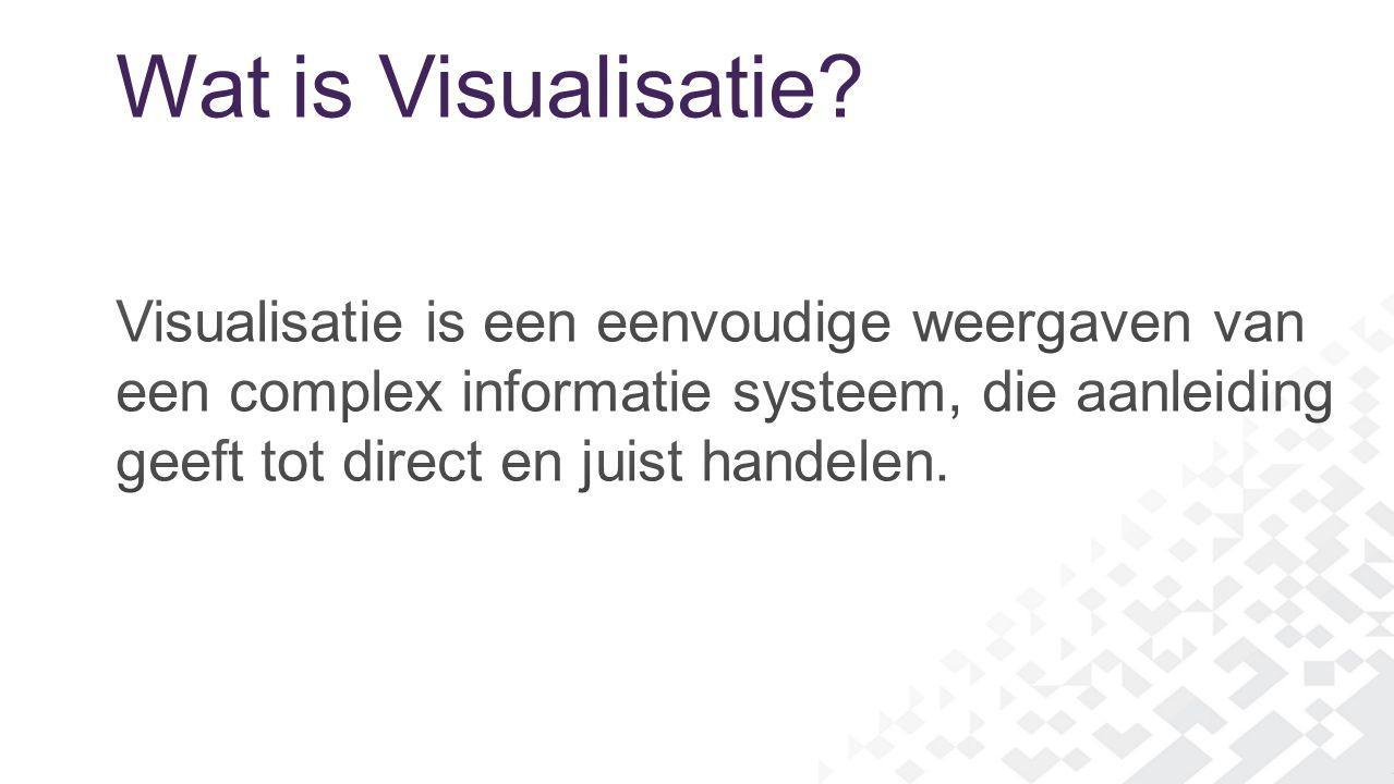 Wat is Visualisatie Visualisatie is een eenvoudige weergaven van