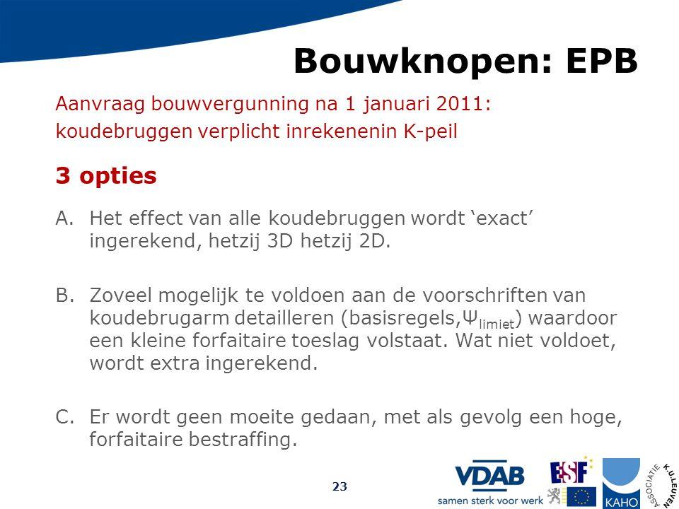 Bouwknopen: EPB 3 opties Aanvraag bouwvergunning na 1 januari 2011: