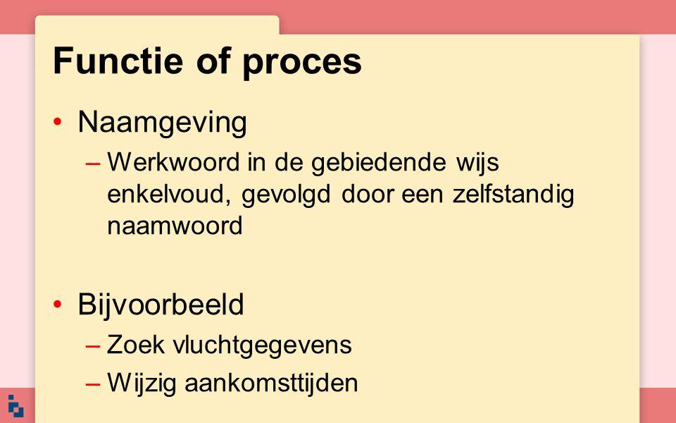 Functie of proces Naamgeving Bijvoorbeeld