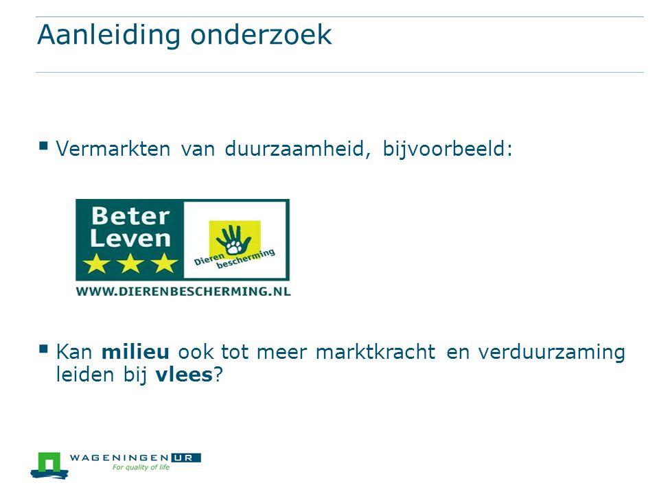 Aanleiding onderzoek Vermarkten van duurzaamheid, bijvoorbeeld: