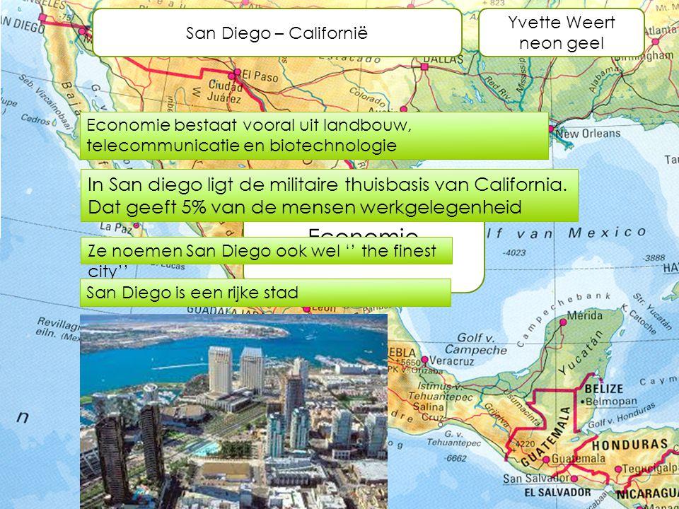 San Diego – Californië Yvette Weert neon geel. Economie bestaat vooral uit landbouw, telecommunicatie en biotechnologie.