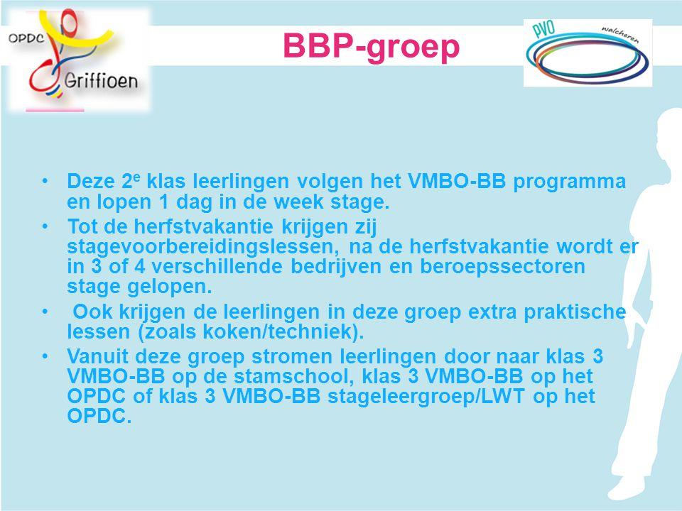 BBP-groep Deze 2e klas leerlingen volgen het VMBO-BB programma en lopen 1 dag in de week stage.
