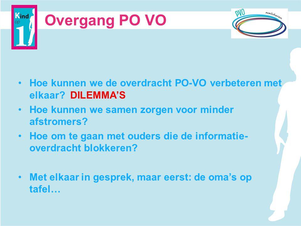 Overgang PO VO Hoe kunnen we de overdracht PO-VO verbeteren met elkaar DILEMMA'S. Hoe kunnen we samen zorgen voor minder afstromers