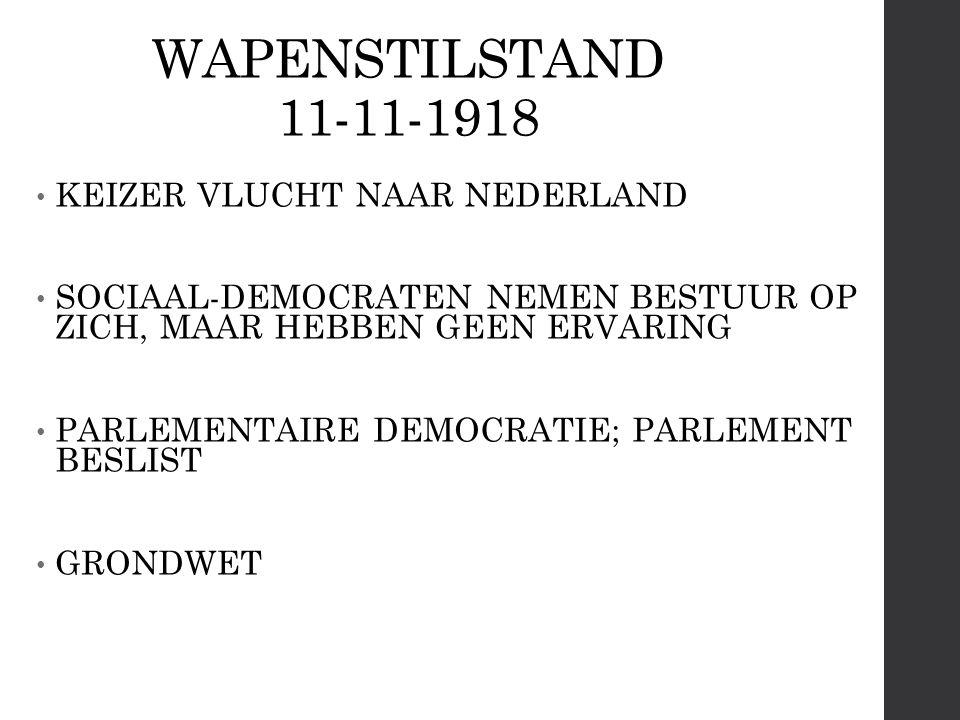 WAPENSTILSTAND 11-11-1918 KEIZER VLUCHT NAAR NEDERLAND