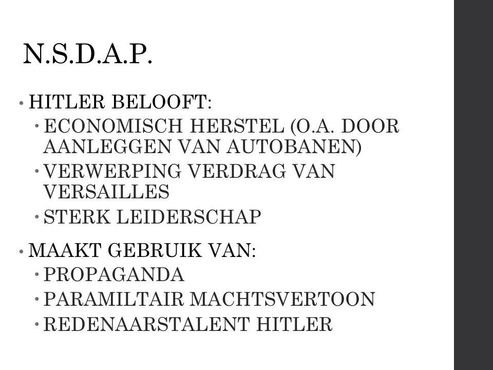 N.S.D.A.P. HITLER BELOOFT: ECONOMISCH HERSTEL (O.A. DOOR AANLEGGEN VAN AUTOBANEN) VERWERPING VERDRAG VAN VERSAILLES.