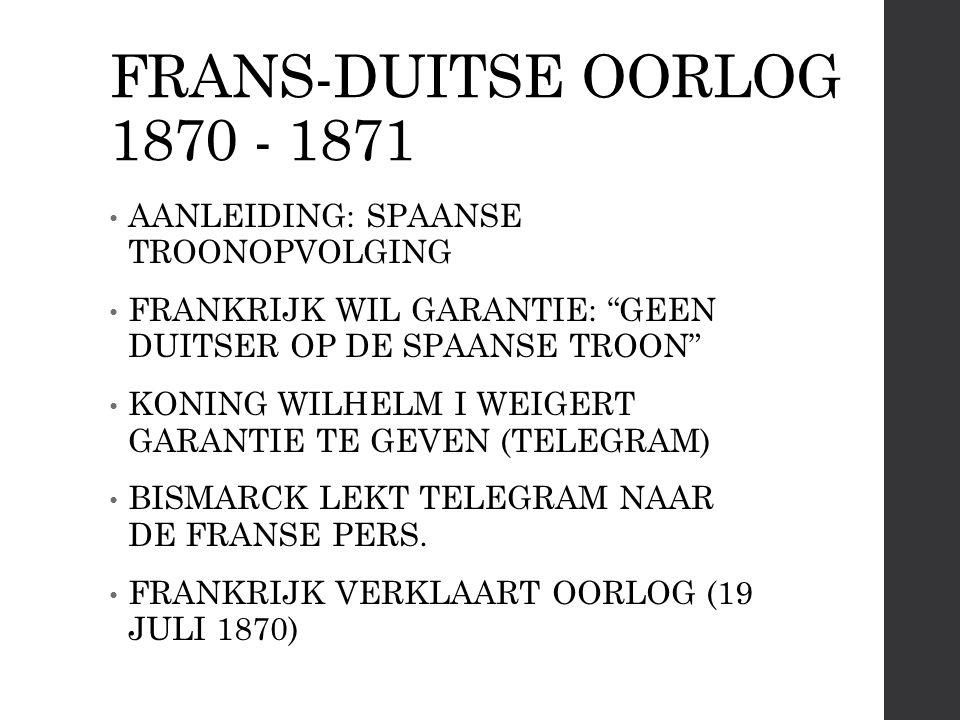 FRANS-DUITSE OORLOG 1870 - 1871 AANLEIDING: SPAANSE TROONOPVOLGING