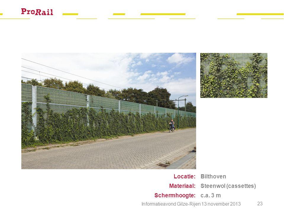 Locatie: Materiaal: Schermhoogte: Bilthoven Steenwol (cassettes)