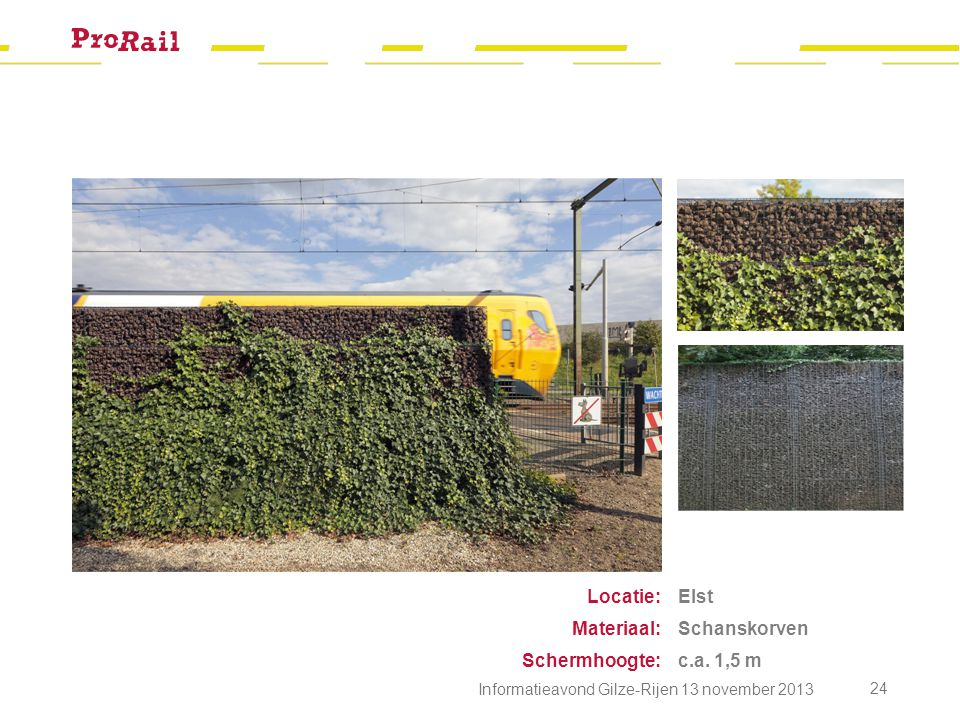 Locatie: Materiaal: Schermhoogte: Elst Schanskorven c.a. 1,5 m