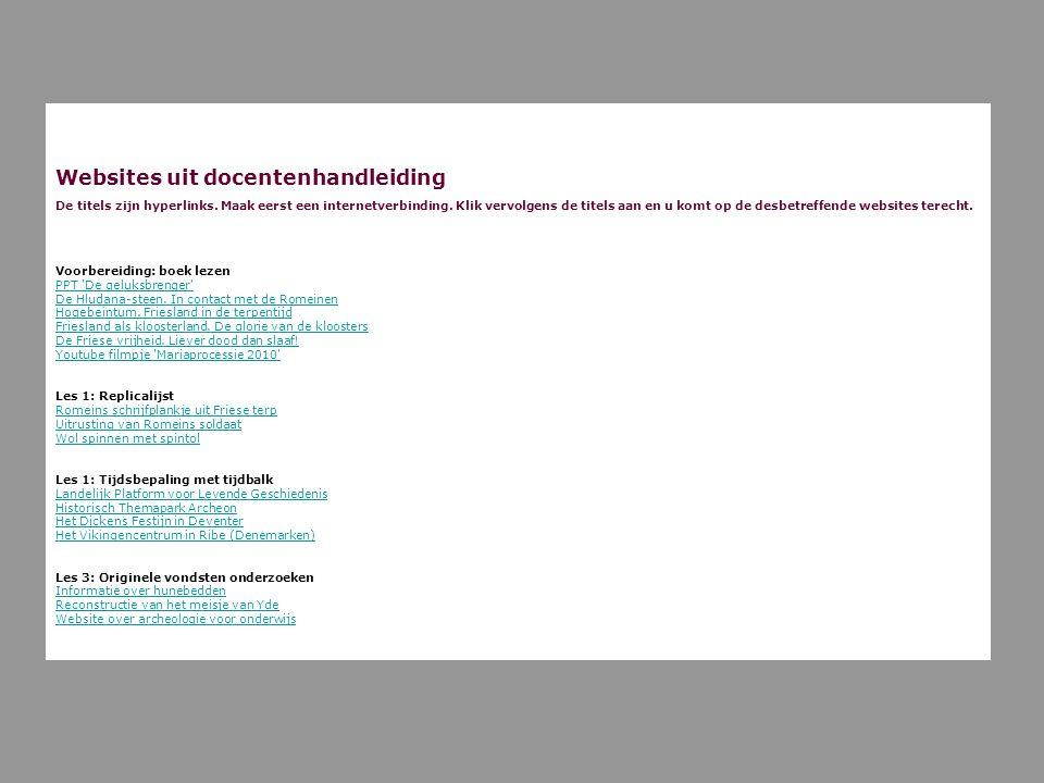 Websites uit docentenhandleiding