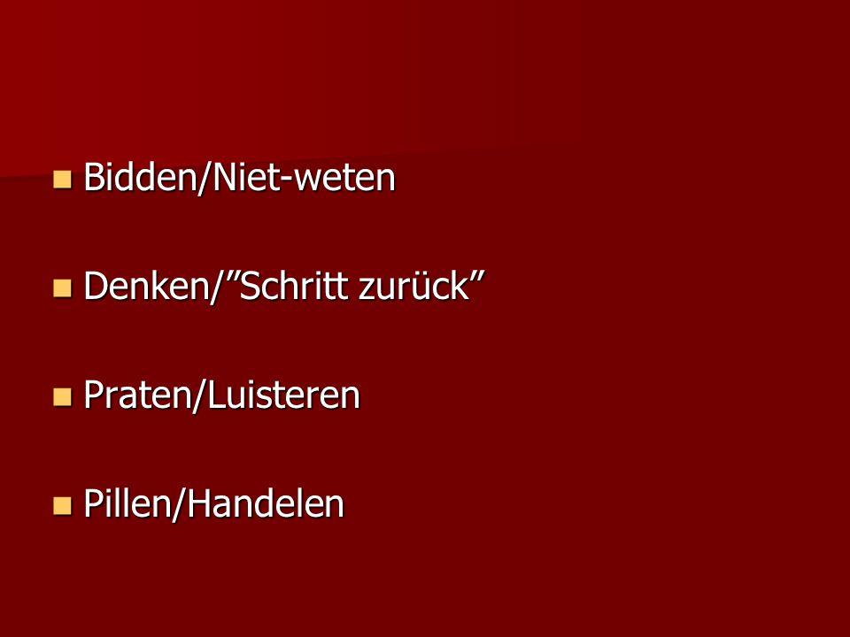 Bidden/Niet-weten Denken/ Schritt zurück Praten/Luisteren Pillen/Handelen
