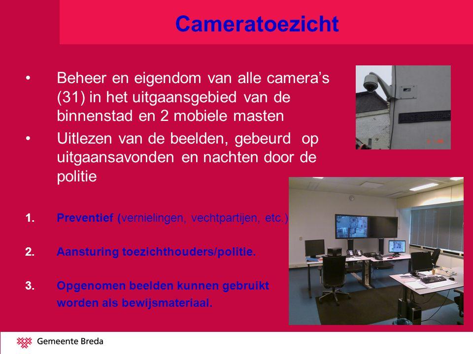 Cameratoezicht Beheer en eigendom van alle camera's (31) in het uitgaansgebied van de binnenstad en 2 mobiele masten.