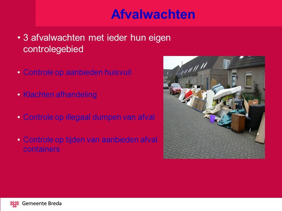 Afvalwachten 3 afvalwachten met ieder hun eigen controlegebied