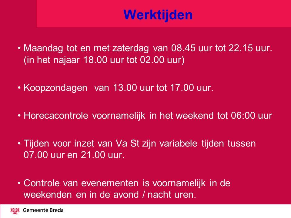 Werktijden Maandag tot en met zaterdag van 08.45 uur tot 22.15 uur. (in het najaar 18.00 uur tot 02.00 uur)