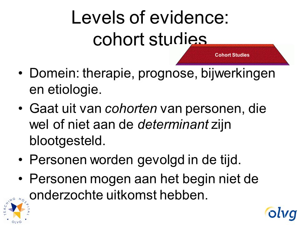 Levels of evidence: cohort studies