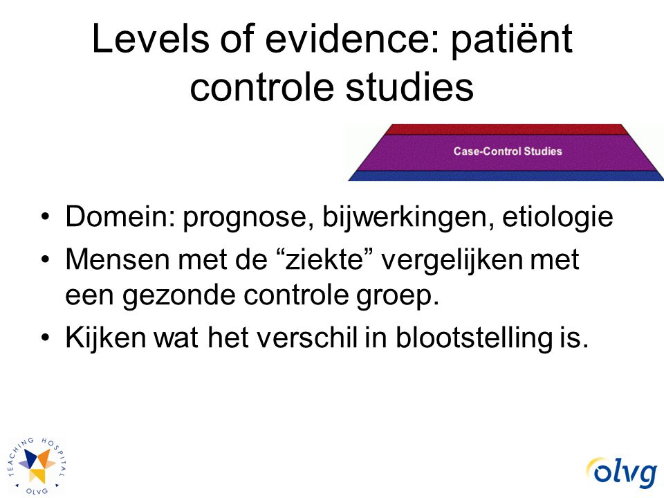 Levels of evidence: patiënt controle studies