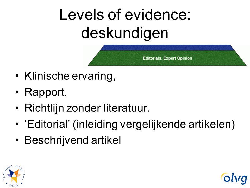 Levels of evidence: deskundigen