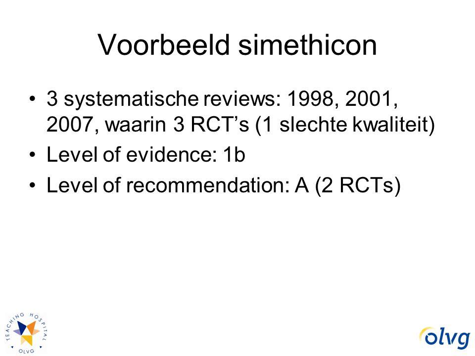 Voorbeeld simethicon 3 systematische reviews: 1998, 2001, 2007, waarin 3 RCT's (1 slechte kwaliteit)