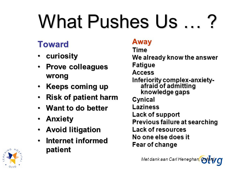 What Pushes Us … Toward Away curiosity Prove colleagues wrong