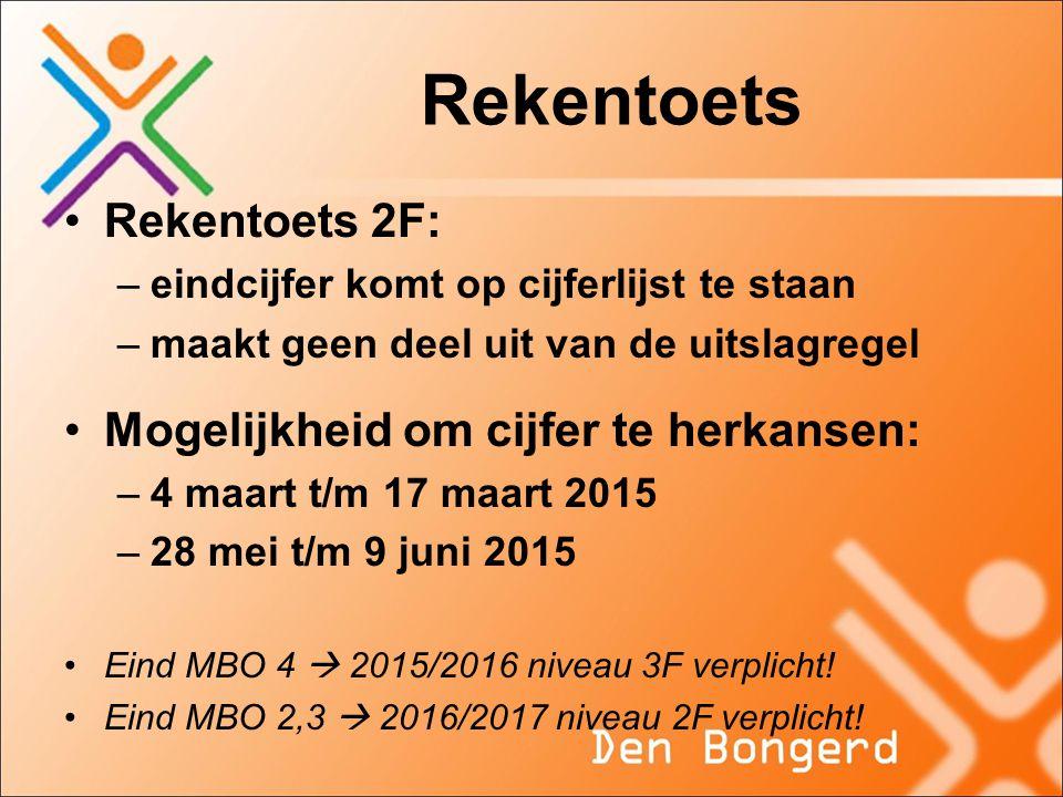 Rekentoets Rekentoets 2F: Mogelijkheid om cijfer te herkansen: