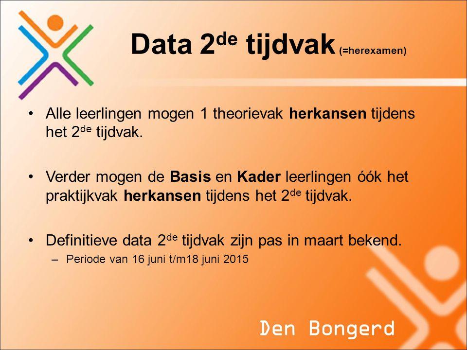 Data 2de tijdvak (=herexamen)
