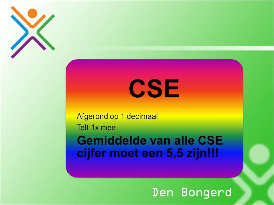 CSE Gemiddelde van alle CSE cijfer moet een 5,5 zijn!!!