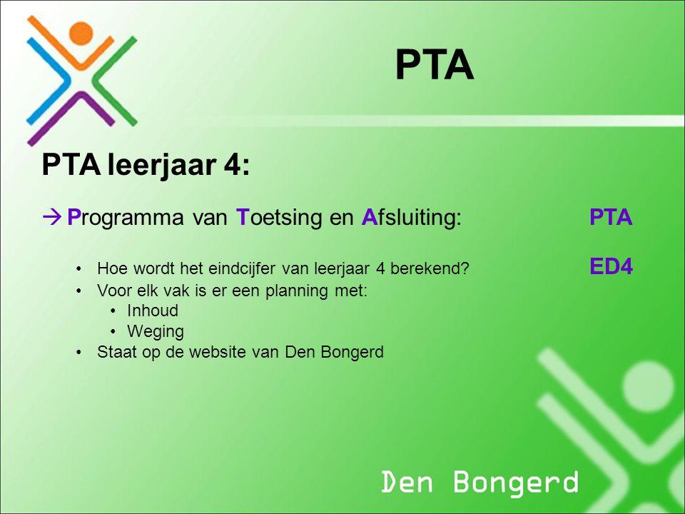 PTA PTA leerjaar 4: Programma van Toetsing en Afsluiting: PTA