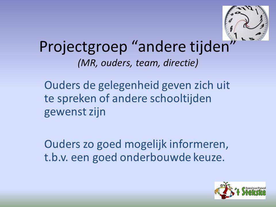 Projectgroep andere tijden (MR, ouders, team, directie)