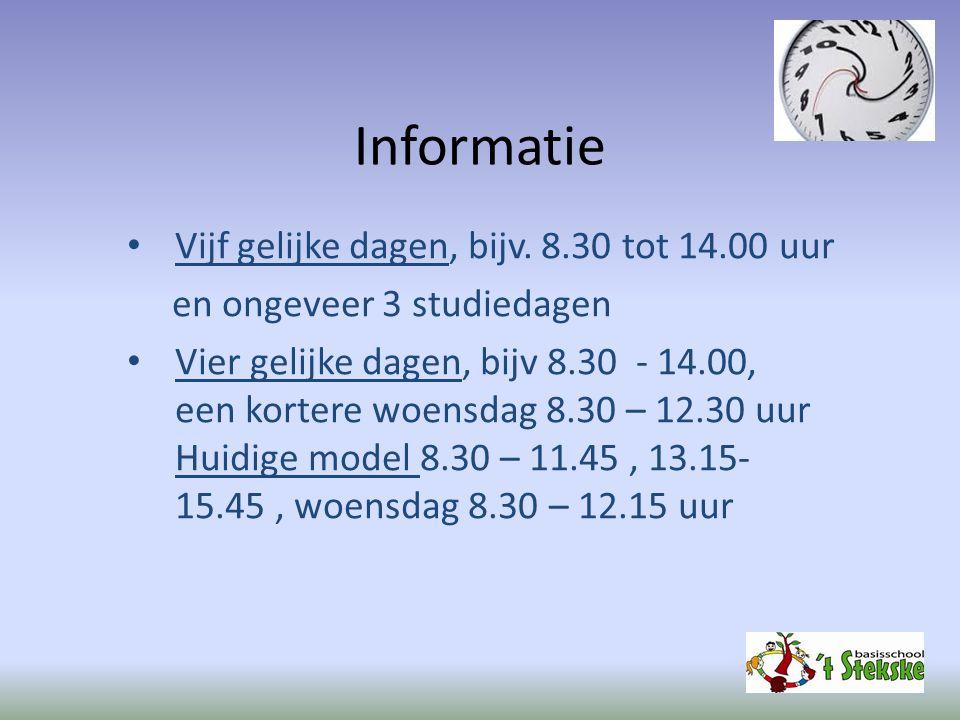 Informatie Vijf gelijke dagen, bijv. 8.30 tot 14.00 uur